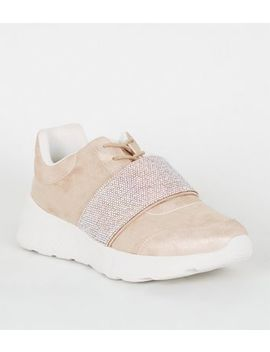 Pale Pink Suedette Gem Embellished Trainers by New Look