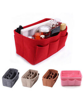Small Cosmetic Bag Makeup Bag Organizer Bag Multi Pocket Case Felt Tote Handbag by Unbranded