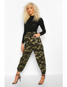 Camo Chain Side Cargo Trousers by Boohoo