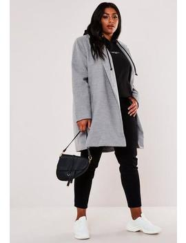 Plus Size Grey Extreme Wrap Coat by Missguided