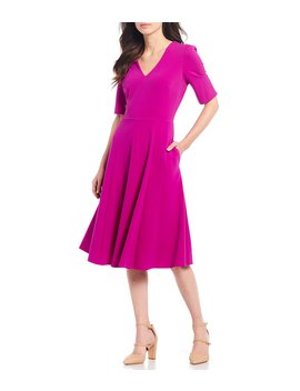 V Neck Stretch Crepe With Pocket Midi Dress by Donna Morgan