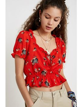 Uo Riley Floral Ruffle Tie Front Blouse by Urban Outfitters