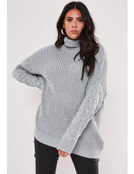 Plus Size Grey Roll Neck Cable Sleeve Jumper by Missguided