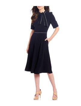Tie Neck Stretch Crepe Pipe Trim Midi Dress by Donna Morgan