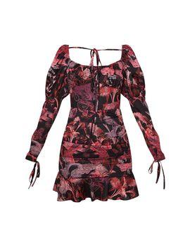 Black Botanical Print Puff Shoulder Tie Bust Frill Hem Bodycon Dress by Prettylittlething