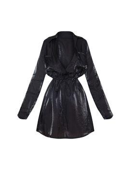 Black Metallic Iridescent Sheer Tie Waist Shift Dress by Prettylittlething