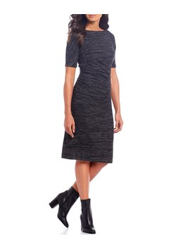 Stretch Knit Ruched Midi Dress by Maggy London