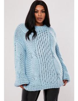 Plus Size Premium Blue Hand Cable Knit Jumper by Missguided