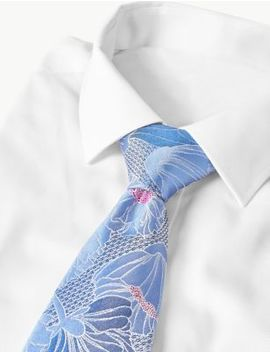 Pure Silk Floral Tie by Marks & Spencer