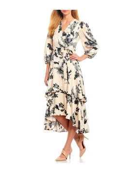 Jacquard Floral Faux Wrap Tiered Midi Dress by Calvin Klein