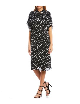 Short Sleeve Polka Dot Print Tie Neck Midi Dress by Ce Ce