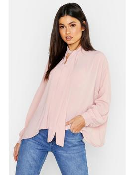 Woven Pussy Bow Blouse by Boohoo