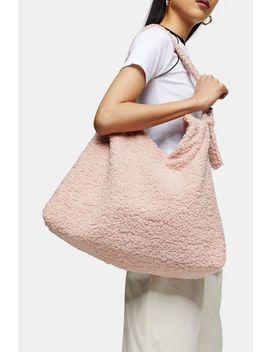 Finn Pale Pink Borg Hobo Bag by Topshop
