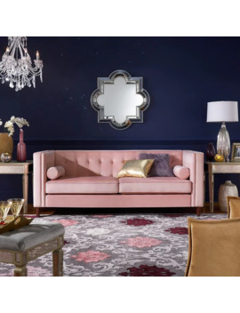 Beverly Pink Velvet Sofa Or Loveseat With Pillows By I Nspire Q Bold   Sofa by I Nspire Q
