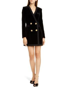 Bree Velvet Long Sleeve Blazer Dress by Saloni