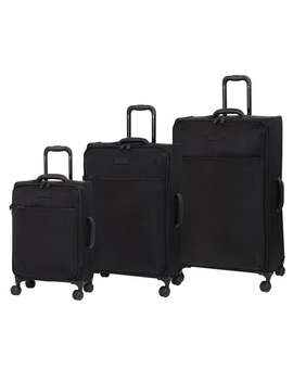 It Luggage Lustrous 8 Wheel Lightweight Expandable 3 Piece Set   Black by It Luggage