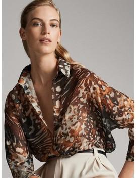 Wzorzysta Koszula Z BaweŁny I Jedwabiu by Massimo Dutti