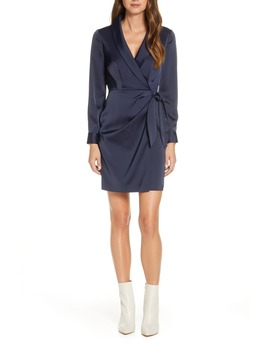 Crepe Back Satin Long Sleeve Faux Wrap Dress by Vince Camuto