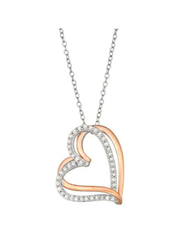 Two Tone Sterling Silver 1/4 Carat T.W. Diamond Interlocking Heart Pendant Necklace by Unbranded