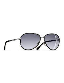 Chanel Pilot Sunglasses Ch4219 Q Black/Silver by Chanel