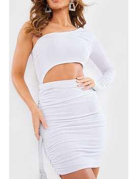 Meggan Grubb Glitter Lurex Asymmetric Ruched Mini Dress by In The Style