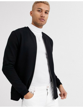 Asos Design Jersey Bomber Jacket In Black With Side Zips by Asos Design