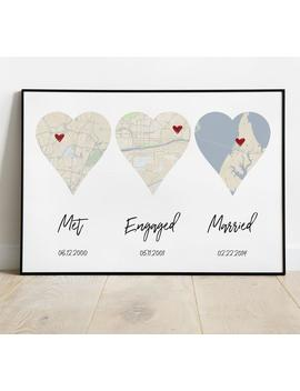 Met, Engaged, Married, Personalized Heart Map, Our Love Story, Every Love Story Is Beautiful, Our Story Timeline, Timeline Art by Etsy