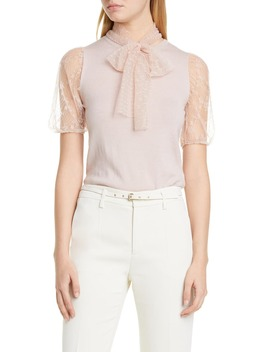 Lace Puff Sleeve Wool Sweater by Red Valentino