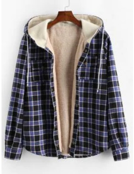 Popular Sale Plaid Chest Pocket Fleece Drawstring Hooded Jacket   Black M by Zaful