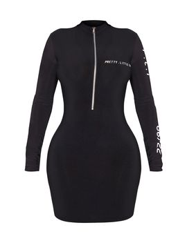 Prettylittlething Shape Black Zip Detail Bodycon Dress by Prettylittlething