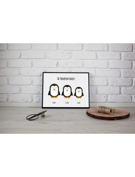 Penguin Print   Family Print   Christmas Gift   Personalised Family Print   Penguin Family Print   New Home Gift   New Home   Home by Etsy