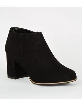 Girls Black Suedette Block Heel Shoe Boots by New Look