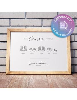 Personalised Print | Homemade Wall Art | Cute Family Shoes | Choose Your Shoes | New Home Gift | Family Gift | Customisable by Etsy
