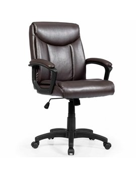 Costway Ergonomic Pu Leather Mid Back Executive Computer Desk Task Office Chair Brown by Costway