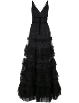 Ruffled Glitter Embellished Gown by Marchesa Notte