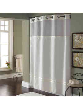 Hookless® Escape 71 Inch X 74 Inch Fabric Shower Curtain And Liner Set In White by Bed Bath And Beyond