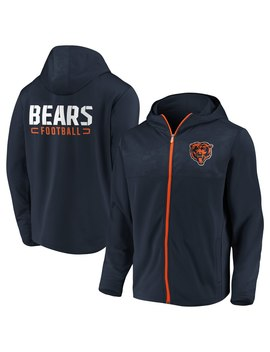 Men's Chicago Bears Nfl Pro Line By Fanatics Branded Navy Iconic Defender Mission Primary Full Zip Hoodie by Nfl