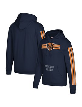 Men's Chicago Bears Mitchell & Ness Navy Three Stripe Pullover Hoodie by Nfl