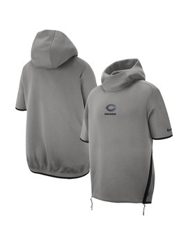 Men's Chicago Bears Nike Gray Sideline Repel Short Sleeve Pullover Hoodie by Nfl