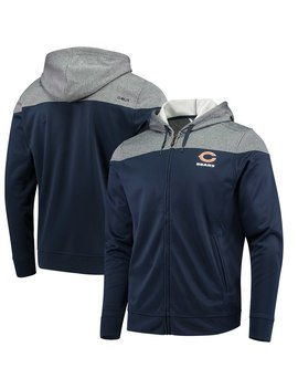 Men's Chicago Bears Cbuk By Cutter & Buck Navy Pop Fly Full Zip Hoodie by Nfl