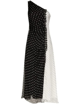 One Shoulder Gathered Polka Dot Dress by House Of Holland