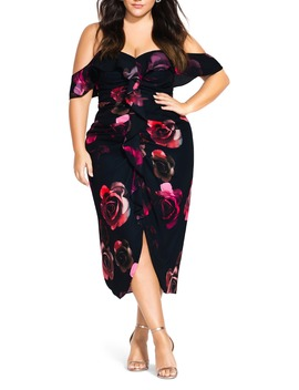 Decadent Floral Off The Shoulder Dress by City Chic