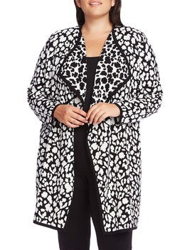 Cheetah Pattern Drape Front Cardigan by Vince Camuto