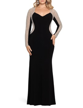 Caviar Beading Long Sleeve Trumpet Gown by Xscape
