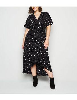 Curves Black Spot Dip Hem Wrap Midi Dress by New Look