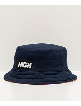 High Company Reversible Navy & Orange Bucket Hat by High Company