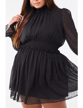 Plus Size Smocked Clip Dot Dress by Forever 21
