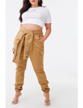Plus Size Self Tie Cargo Joggers by Forever 21