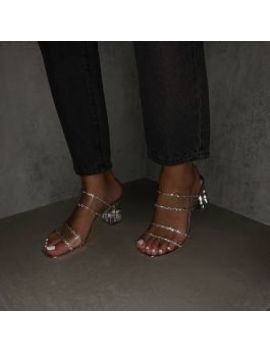 Kerri Silver Mirror Clear Block Midi Heels by Simmigirl