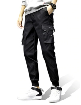 Pocket Decoration Elastic Waist Jogger Pants   Black M by Zaful